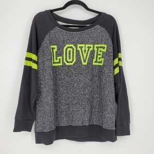 Bobbie Brooks Raglan Graphic Love Sweatshirt Sz 2X